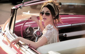 cool chick in car